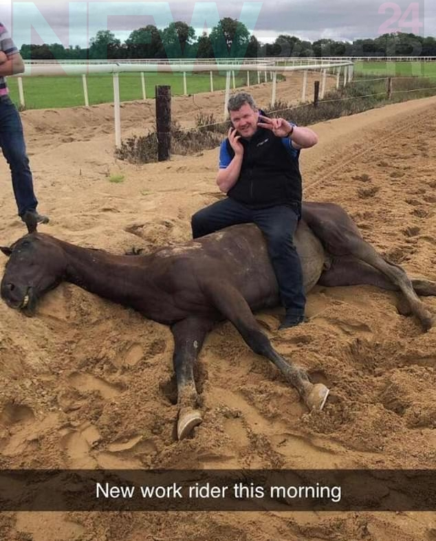Gordon Elliott was banned for 12 months - six months suspended - after thisimage of him sitting on a dead horse was widely circulated on social media in March